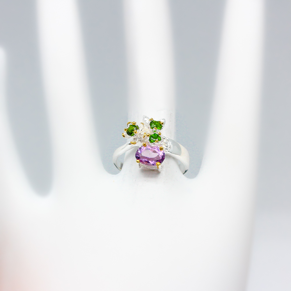 Handmade Jewelry Girl Natural Amethyst 925 Sterling Silver Ring RVS103