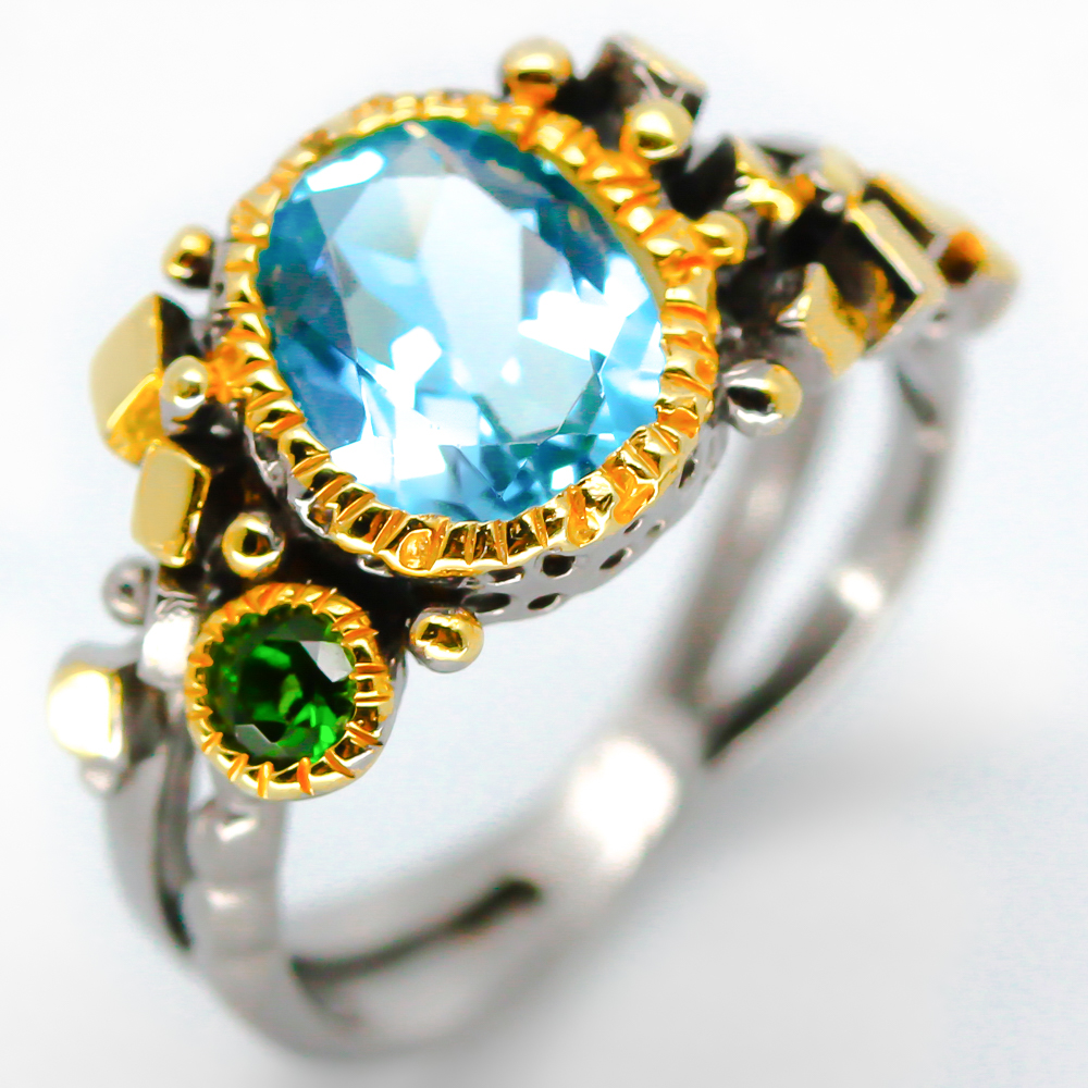 663ca2e9e Details about Popular jewelry Handmade Natural Blue Topaz 925 Sterling  Silver Ring / RVS12