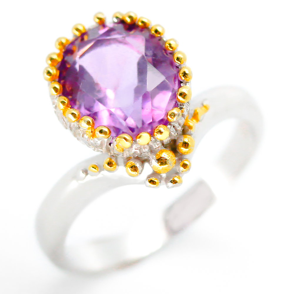 RVS215 18k Yellow gold solid Natural Amethyst 925 Sterling Silver Ring